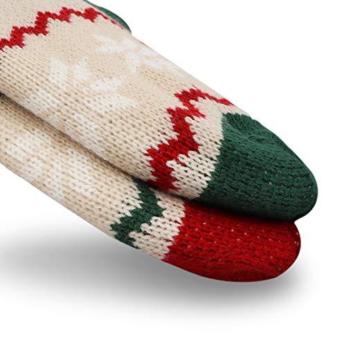 LimBridge 2 Pack 18 Large Size Snowflake Stripe Knit Knitted Christmas Stockings Xmas Rustic Personalized Stocking Decorations For Family Holiday Season Decor WhiteRedGreen 0 2