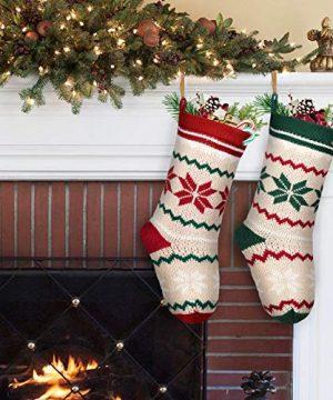 LimBridge 2 Pack 18 Large Size Snowflake Stripe Knit Knitted Christmas Stockings Xmas Rustic Personalized Stocking Decorations For Family Holiday Season Decor WhiteRedGreen 0 3 300x360