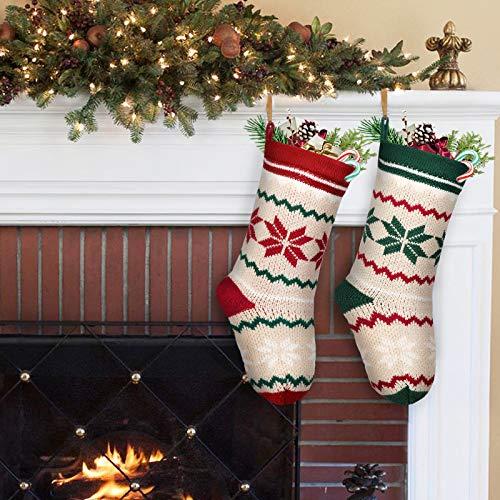 LimBridge 2 Pack 18 Large Size Snowflake Stripe Knit Knitted Christmas Stockings Xmas Rustic Personalized Stocking Decorations For Family Holiday Season Decor WhiteRedGreen 0 3