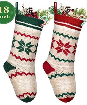 LimBridge 2 Pack 18 Large Size Snowflake Stripe Knit Knitted Christmas Stockings Xmas Rustic Personalized Stocking Decorations For Family Holiday Season Decor WhiteRedGreen 0 300x360