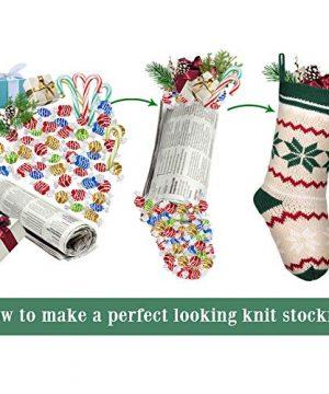 LimBridge 2 Pack 18 Large Size Snowflake Stripe Knit Knitted Christmas Stockings Xmas Rustic Personalized Stocking Decorations For Family Holiday Season Decor WhiteRedGreen 0 4 300x360