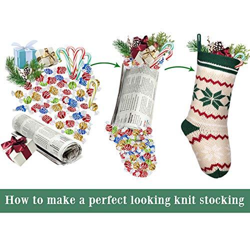 LimBridge 2 Pack 18 Large Size Snowflake Stripe Knit Knitted Christmas Stockings Xmas Rustic Personalized Stocking Decorations For Family Holiday Season Decor WhiteRedGreen 0 4