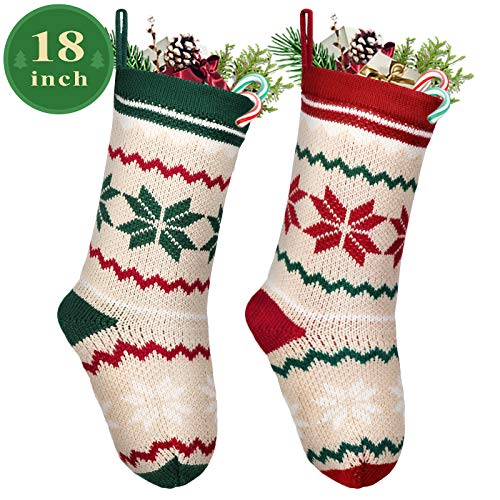 LimBridge 2 Pack 18 Large Size Snowflake Stripe Knit Knitted Christmas Stockings Xmas Rustic Personalized Stocking Decorations For Family Holiday Season Decor WhiteRedGreen 0