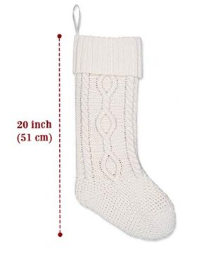 LimBridge 2 Pack 20 Large Size Cable Knit Knitted Christmas Stockings Xmas Rustic Personalized Stocking Decorations For Family Holiday Season Decor WhiteRed 0 0 300x360