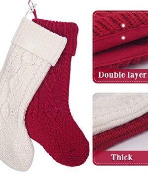 LimBridge 2 Pack 20 Large Size Cable Knit Knitted Christmas Stockings Xmas Rustic Personalized Stocking Decorations For Family Holiday Season Decor WhiteRed 0 1 300x360