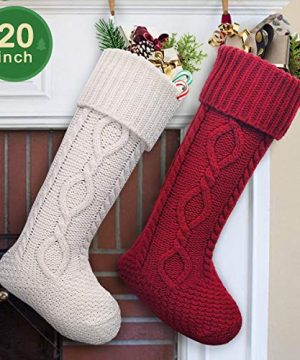 LimBridge 2 Pack 20 Large Size Cable Knit Knitted Christmas Stockings Xmas Rustic Personalized Stocking Decorations For Family Holiday Season Decor WhiteRed 0 3 300x360