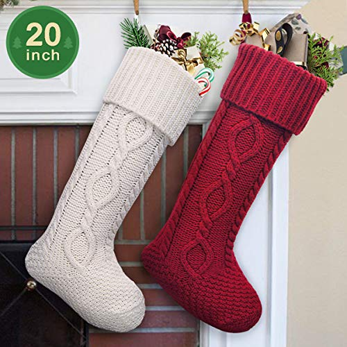 LimBridge 2 Pack 20 Large Size Cable Knit Knitted Christmas Stockings Xmas Rustic Personalized Stocking Decorations For Family Holiday Season Decor WhiteRed 0 3