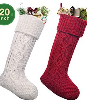 LimBridge 2 Pack 20 Large Size Cable Knit Knitted Christmas Stockings Xmas Rustic Personalized Stocking Decorations For Family Holiday Season Decor WhiteRed 0 300x360
