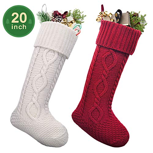 LimBridge 2 Pack 20 Large Size Cable Knit Knitted Christmas Stockings Xmas Rustic Personalized Stocking Decorations For Family Holiday Season Decor WhiteRed 0