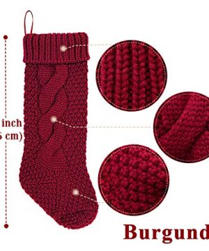 LimBridge 4 Pack 18 Large Size Cable Knit Knitted Christmas Stockings Xmas Rustic Personalized Stocking Decorations For Family Holiday Season Decor CreamBurgundy 0 0 300x360