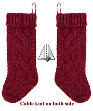LimBridge 4 Pack 18 Large Size Cable Knit Knitted Christmas Stockings Xmas Rustic Personalized Stocking Decorations For Family Holiday Season Decor CreamBurgundy 0 2 300x360