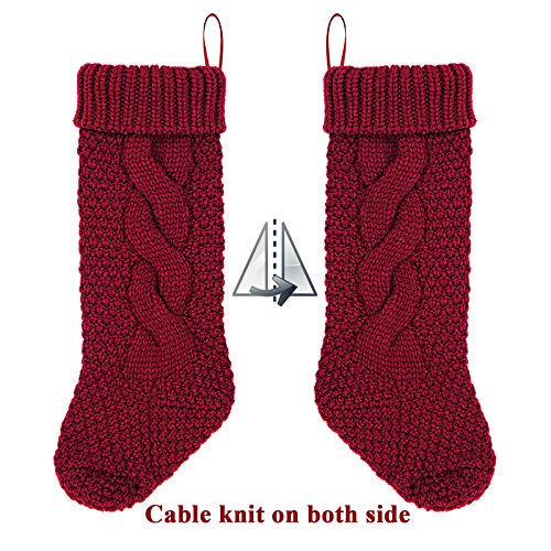 LimBridge 4 Pack 18 Large Size Cable Knit Knitted Christmas Stockings Xmas Rustic Personalized Stocking Decorations For Family Holiday Season Decor CreamBurgundy 0 2