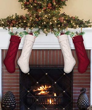 LimBridge 4 Pack 18 Large Size Cable Knit Knitted Christmas Stockings Xmas Rustic Personalized Stocking Decorations For Family Holiday Season Decor CreamBurgundy 0 3 300x360