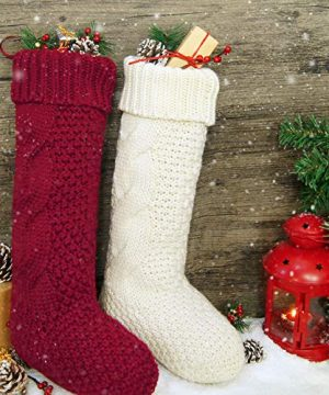 LimBridge 4 Pack 18 Large Size Cable Knit Knitted Christmas Stockings Xmas Rustic Personalized Stocking Decorations For Family Holiday Season Decor CreamBurgundy 0 4 300x360