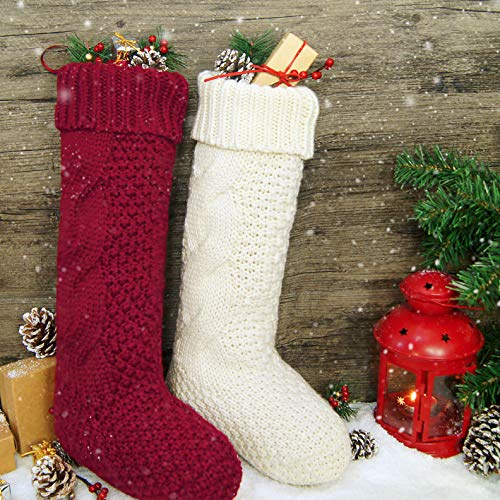 Knitted Christmas Stockings.Limbridge Christmas Stockings 4 Pack 18 Inches Large Size Cable Knit Knitted Xmas Rustic Personalized Stocking Decorations For Family Holiday Season