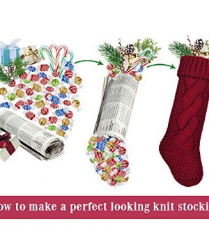 LimBridge 4 Pack 18 Large Size Cable Knit Knitted Christmas Stockings Xmas Rustic Personalized Stocking Decorations For Family Holiday Season Decor CreamBurgundy 0 5 300x360