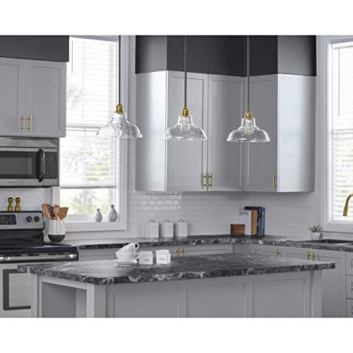 Lucera Glass Kitchen Pendant Light | Antique Brass Farmhouse Hanging Light  Fixture with LED Bulb LL-P431-LED-AB