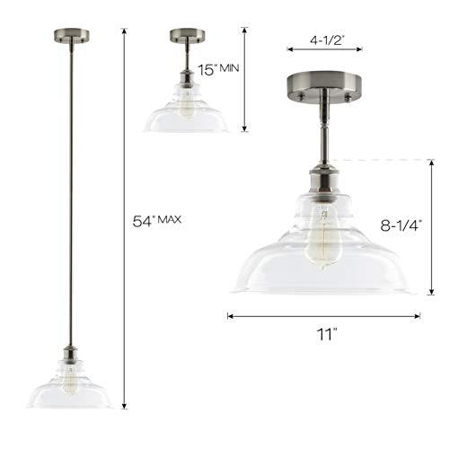 Lucera Glass Kitchen Pendant Light Brushed Nickel Farmhouse Hanging Light Fixture LL P431 BN 0 1