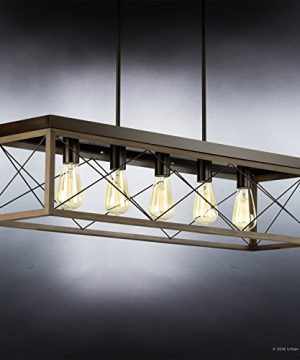 Luxury Industrial Chic IslandLinear Chandelier Large Size 9H X 38W With Modern Farmhouse Style Elements Olde Bronze Finish UHP2126 From The Berkeley Collection By Urban Ambiance 0 1 300x360