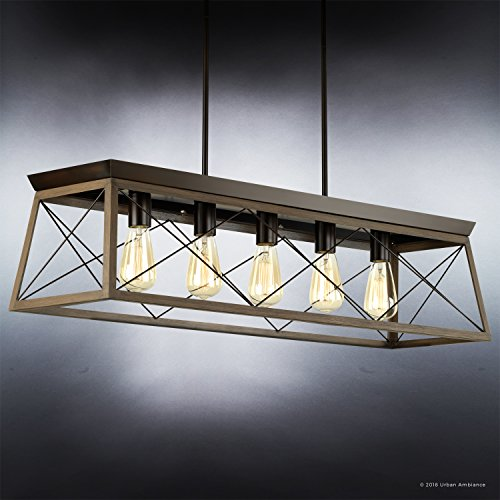 Luxury Industrial Chic IslandLinear Chandelier Large Size 9H X 38W With Modern Farmhouse Style Elements Olde Bronze Finish UHP2126 From The Berkeley Collection By Urban Ambiance 0 1