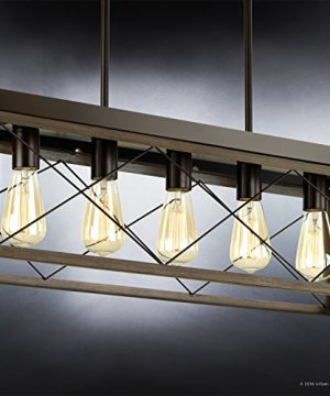 Luxury Industrial Chic IslandLinear Chandelier Large Size 9H X 38W With Modern Farmhouse Style Elements Olde Bronze Finish UHP2126 From The Berkeley Collection By Urban Ambiance 0 2 300x360