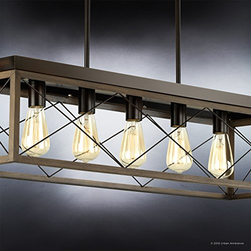 Luxury Industrial Chic IslandLinear Chandelier Large Size 9H X 38W With Modern Farmhouse Style Elements Olde Bronze Finish UHP2126 From The Berkeley Collection By Urban Ambiance 0 2