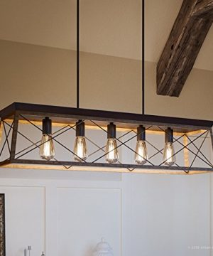 Luxury Industrial Chic IslandLinear Chandelier Large Size 9H X 38W With Modern Farmhouse Style Elements Olde Bronze Finish UHP2126 From The Berkeley Collection By Urban Ambiance 0 300x360