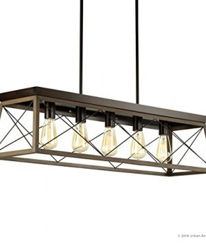 Luxury Industrial Chic IslandLinear Chandelier Large Size 9H X 38W With Modern Farmhouse Style Elements Olde Bronze Finish UHP2126 From The Berkeley Collection By Urban Ambiance 0 5 300x360