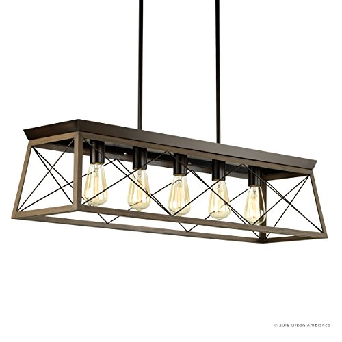 Luxury Industrial Chic IslandLinear Chandelier Large Size 9H X 38W With Modern Farmhouse Style Elements Olde Bronze Finish UHP2126 From The Berkeley Collection By Urban Ambiance 0 5