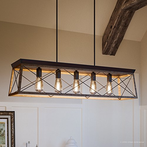 Luxury Industrial Chic IslandLinear Chandelier Large Size 9H X 38W With Modern Farmhouse Style Elements Olde Bronze Finish UHP2126 From The Berkeley Collection By Urban Ambiance 0