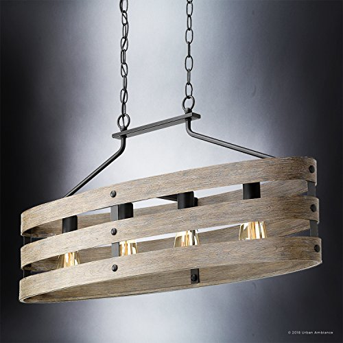 Luxury Modern Farmhouse Chandelier Large Size 17H X 385W With Rustic Style Elements Charcoal Finish UHP2476 From The Adelaide Collection By Urban Ambiance 0 2