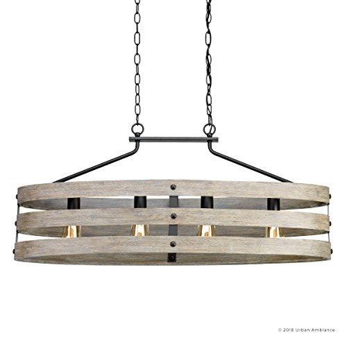 Luxury Modern Farmhouse Chandelier Large Size 17H X 385W With Rustic Style Elements Charcoal Finish UHP2476 From The Adelaide Collection By Urban Ambiance 0 5