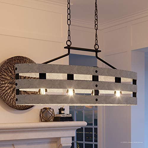 Luxury Modern Farmhouse Chandelier Large Size 17H X 385W With Rustic Style Elements Charcoal Finish UHP2476 From The Adelaide Collection By Urban Ambiance 0