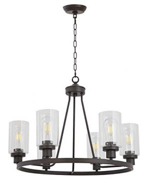 MELUCEE 6 Light Glass Chandelier Farmhouse Lighting Kitchen Island Lighting Dining Room Light Fixtures Hanging Glass Pendant Light Oil Rubbed Bronze Finished UL Listed 0 300x360
