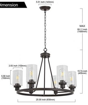 MELUCEE 6 Light Glass Chandelier Farmhouse Lighting Kitchen Island Lighting Dining Room Light Fixtures Hanging Glass Pendant Light Oil Rubbed Bronze Finished UL Listed 0 4 300x360