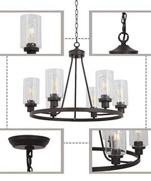 MELUCEE 6 Light Glass Chandelier Farmhouse Lighting Kitchen Island Lighting Dining Room Light Fixtures Hanging Glass Pendant Light Oil Rubbed Bronze Finished UL Listed 0 5 300x360