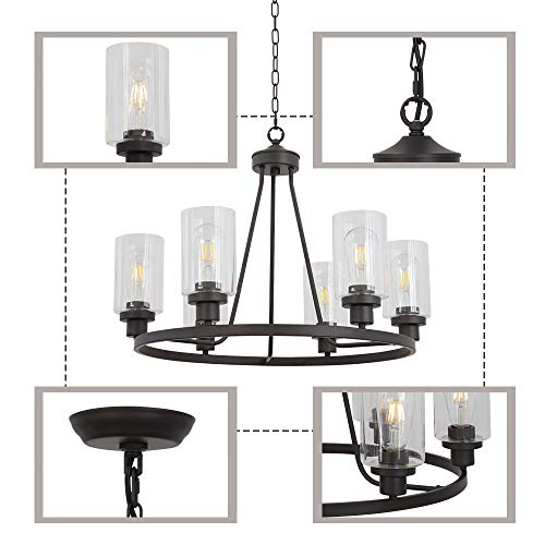 MELUCEE 6 Light Glass Chandelier Farmhouse Lighting Kitchen Island Lighting Dining Room Light Fixtures Hanging Glass Pendant Light Oil Rubbed Bronze Finished UL Listed 0 5
