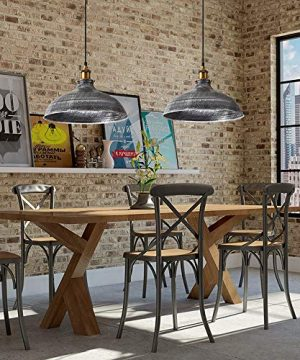 NIUYAO 14 Wide Rustic Industrail Big Barn Pendant Light Lamp Dome Shade Hanging Ceiling Light Rust Silver 0 0 300x360