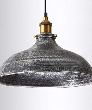 NIUYAO 14 Wide Rustic Industrail Big Barn Pendant Light Lamp Dome Shade Hanging Ceiling Light Rust Silver 0 1 300x360