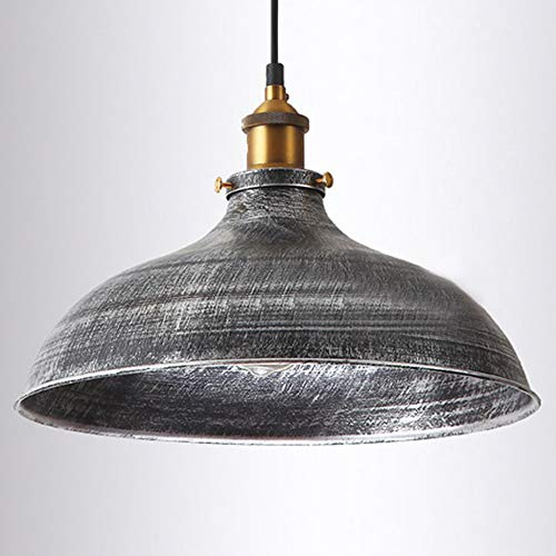NIUYAO 14 Wide Rustic Industrail Big Barn Pendant Light Lamp Dome Shade Hanging Ceiling Light Rust Silver 0 1