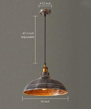 NIUYAO 14 Wide Rustic Industrail Big Barn Pendant Light Lamp Dome Shade Hanging Ceiling Light Rust Silver 0 2 300x360
