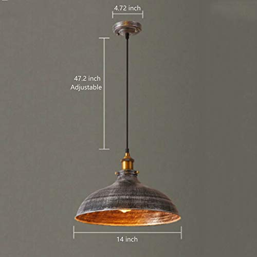 NIUYAO 14 Wide Rustic Industrail Big Barn Pendant Light Lamp Dome Shade Hanging Ceiling Light Rust Silver 0 2