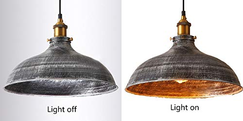NIUYAO 14 Wide Rustic Industrail Big Barn Pendant Light Lamp Dome Shade Hanging Ceiling Light Rust Silver 0 3