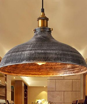 NIUYAO 14 Wide Rustic Industrail Big Barn Pendant Light Lamp Dome Shade Hanging Ceiling Light Rust Silver 0 300x360