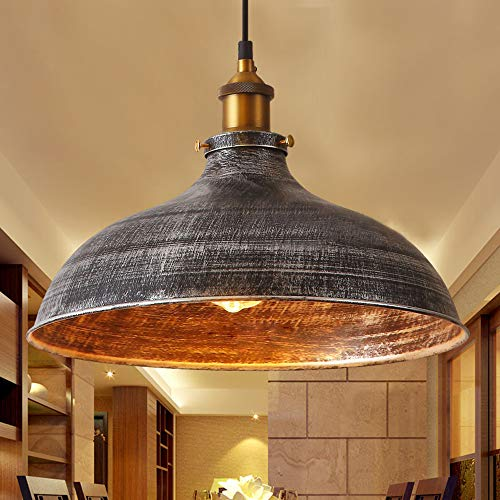 NIUYAO 14 Wide Rustic Industrail Big Barn Pendant Light Lamp Dome Shade Hanging Ceiling Light Rust Silver 0