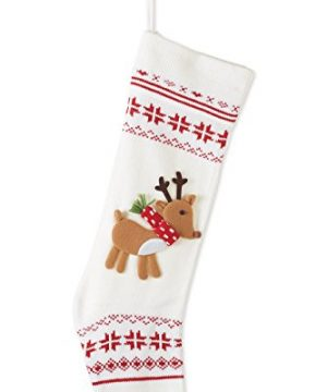 Nordic Knit Snowflake Reindeer Applique 24 Inch Christmas Stocking Decoration 0 300x360