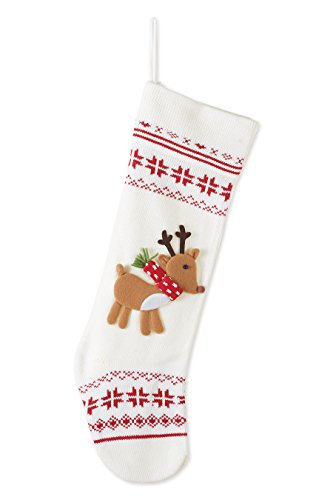 Nordic Knit Snowflake Reindeer Applique 24 Inch Christmas Stocking Decoration 0