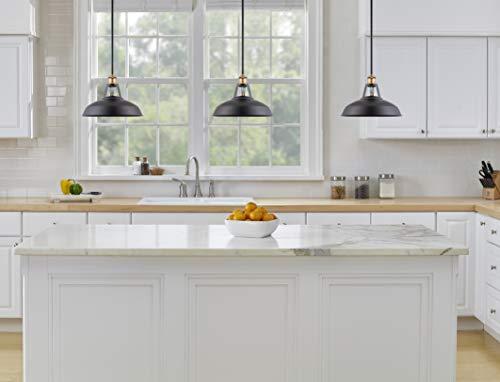 Olivera 12 Inch Pendant Light Black W Antique Brass Pendant Lighting For Kitchen Island With Led Bulb Ll P855 7sbk Farmhouse Goals