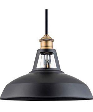 Olivera 12 Inch Pendant Light Black WAntique Brass Pendant Lighting For Kitchen Island With LED Bulb LL P855 7SBK 0 300x360