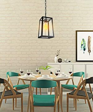 Paragon Home Modern Glass Pendant Light Metal Iron Frame Hanging Lights With Clear Glass Panels Matte Black Dining Room Lighting Fixture Chandelier E26 Base Bulb Not Included 0 2 300x360